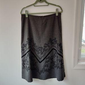 Gray Size 12 Ann Taylor Loft Midi Skirt